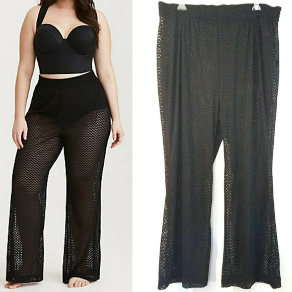 0667d10453 Torrid Black Crochet Swim Cover Up Pants - NEW. M 5aa4b73e45b30c54b91d7a70